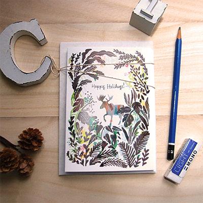 Moose Holiday Card Set (Set of 5)