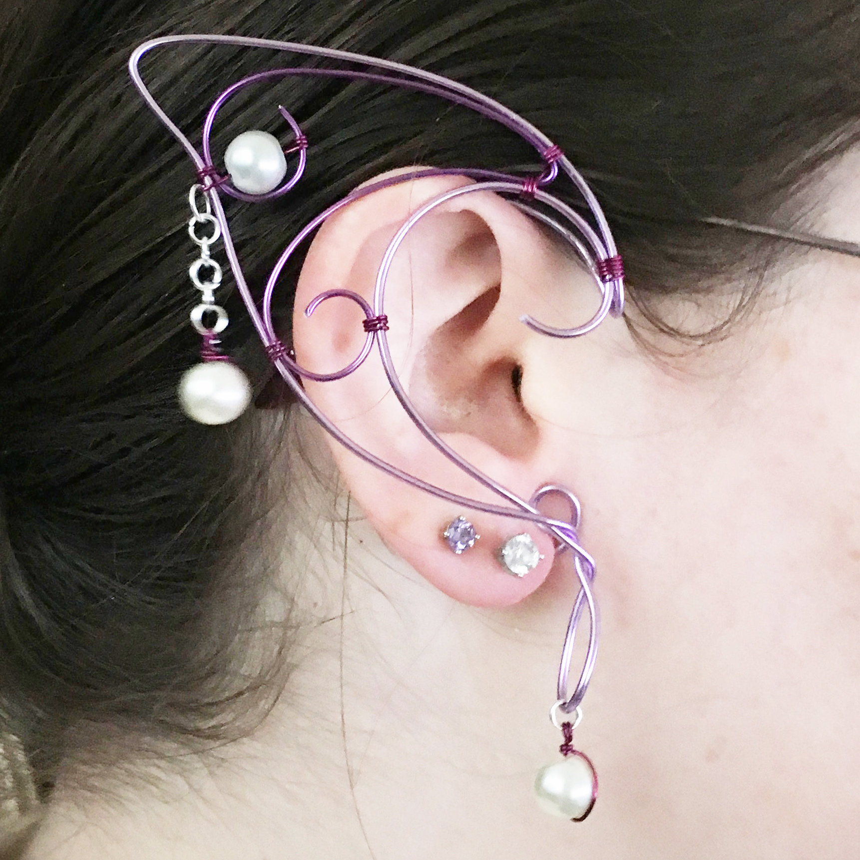 Elf Ear Cuff - Lavender, Purple, with beads EC001