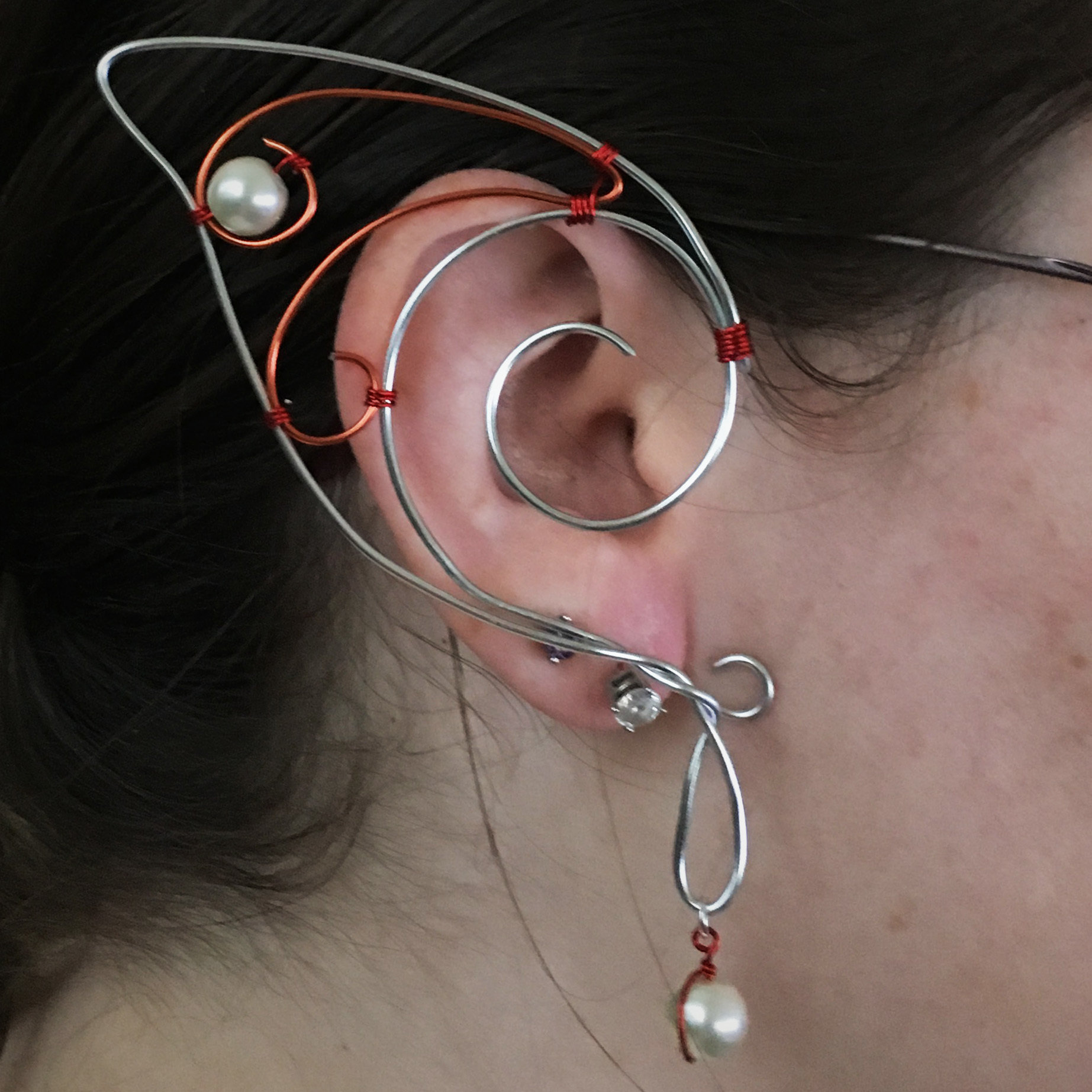 Elf Ear Cuff - Silver and orange with beads EC003