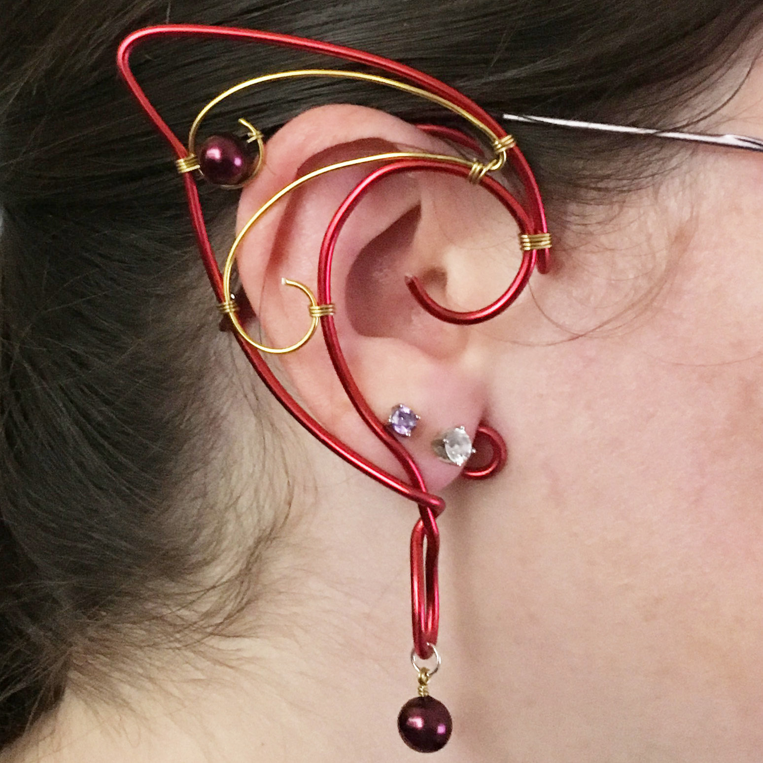 Elf Ear Cuff - Red and gold with beads EC004