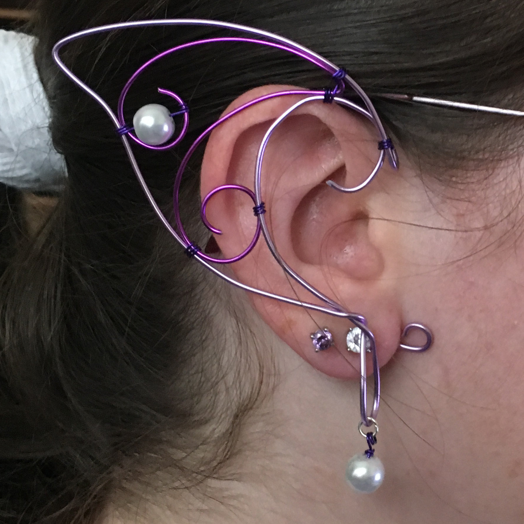 Elf Ear Cuff - Lavender and Purple with beads EC007
