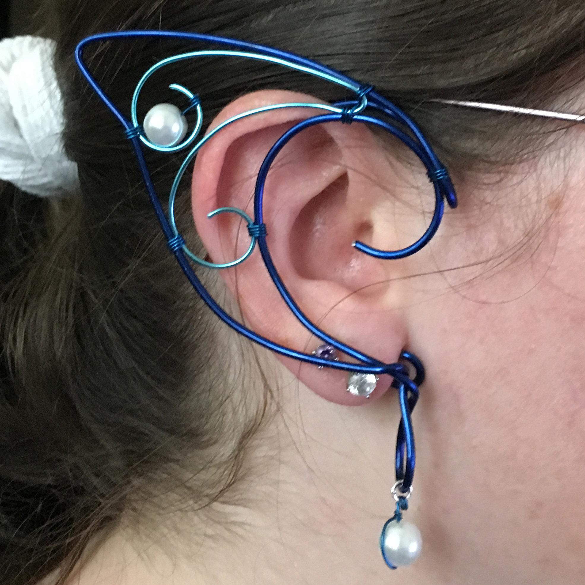Elf Ear Cuff - Blue and Cyan with beads EC009