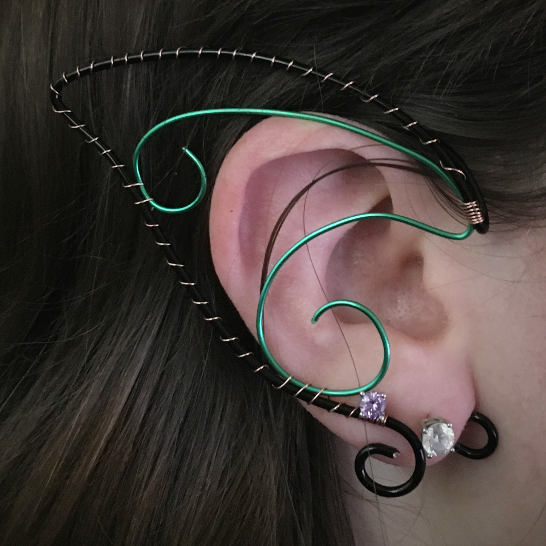 Elf Ear Cuff - Black and Green EC015