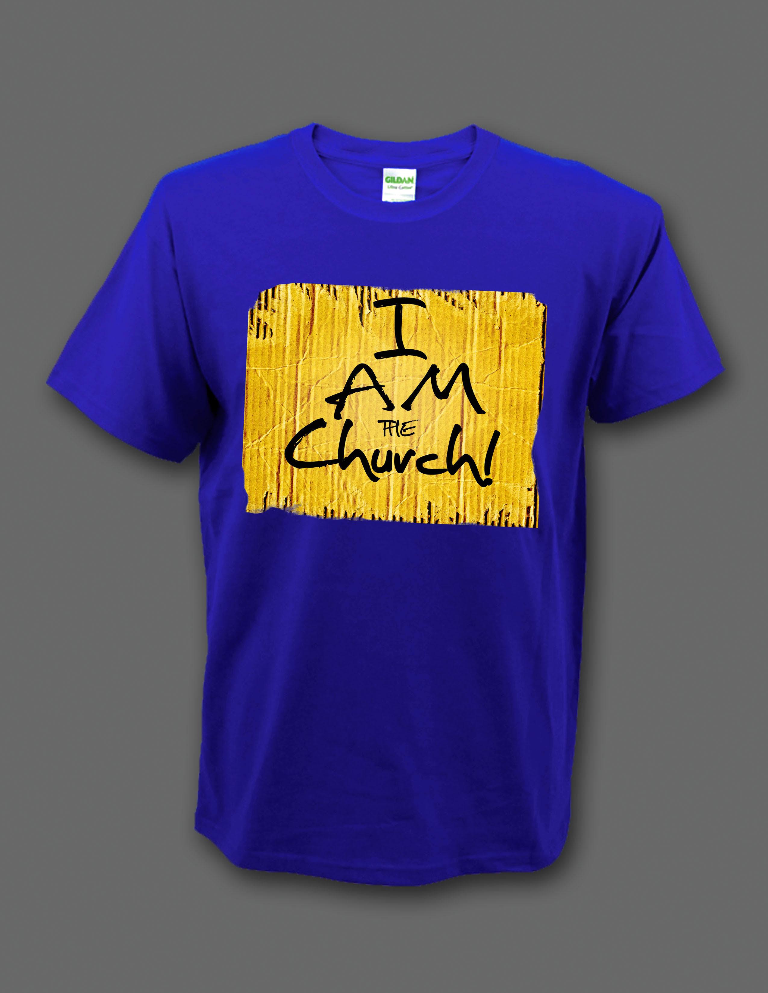 """Blue """"I Am the Church"""" t-shirt 00002"""
