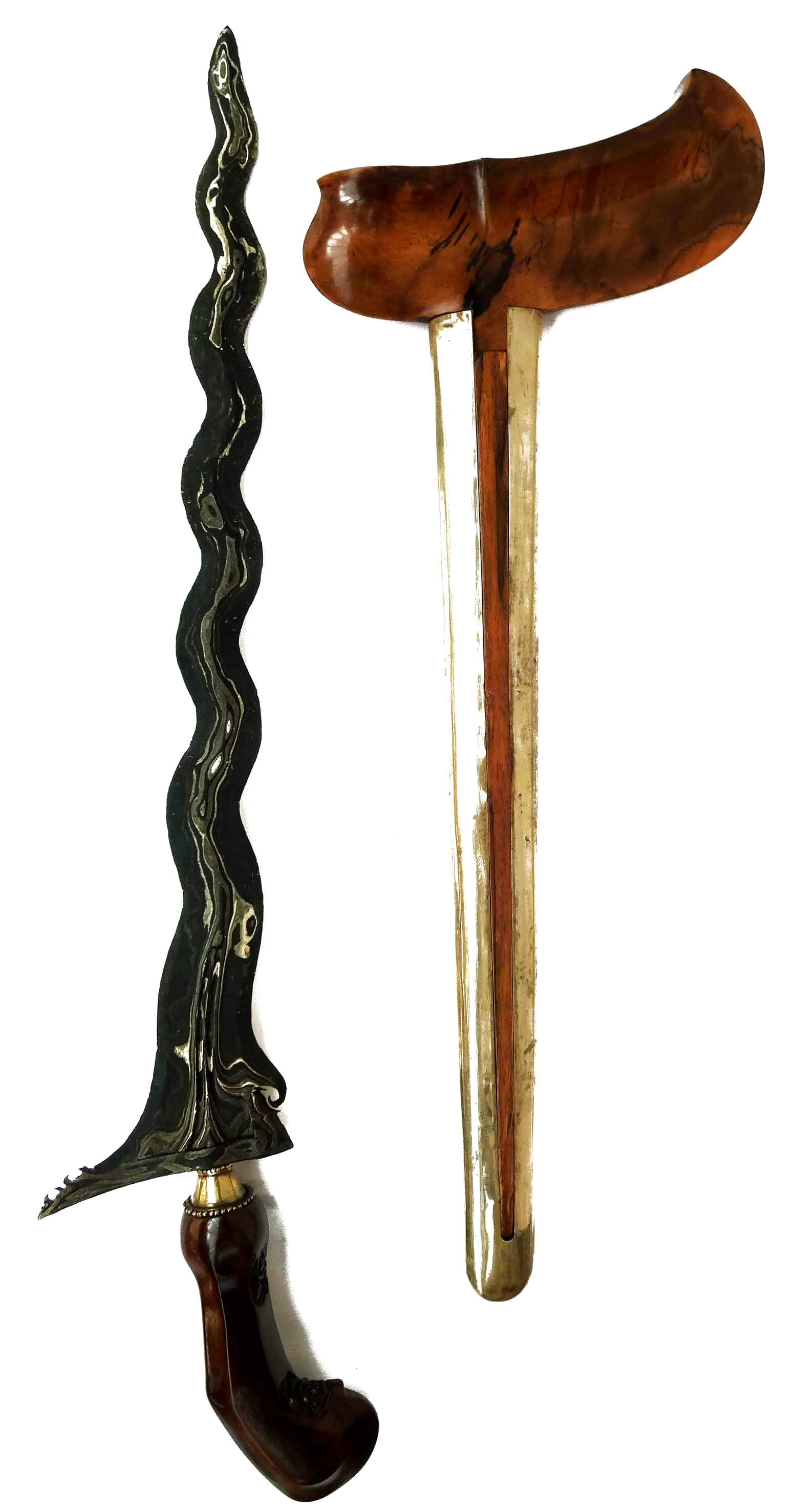 Keris Pajang Sengkelat with Pamor Kulit Semangka and Sacred Wooden Hilt and Sheath