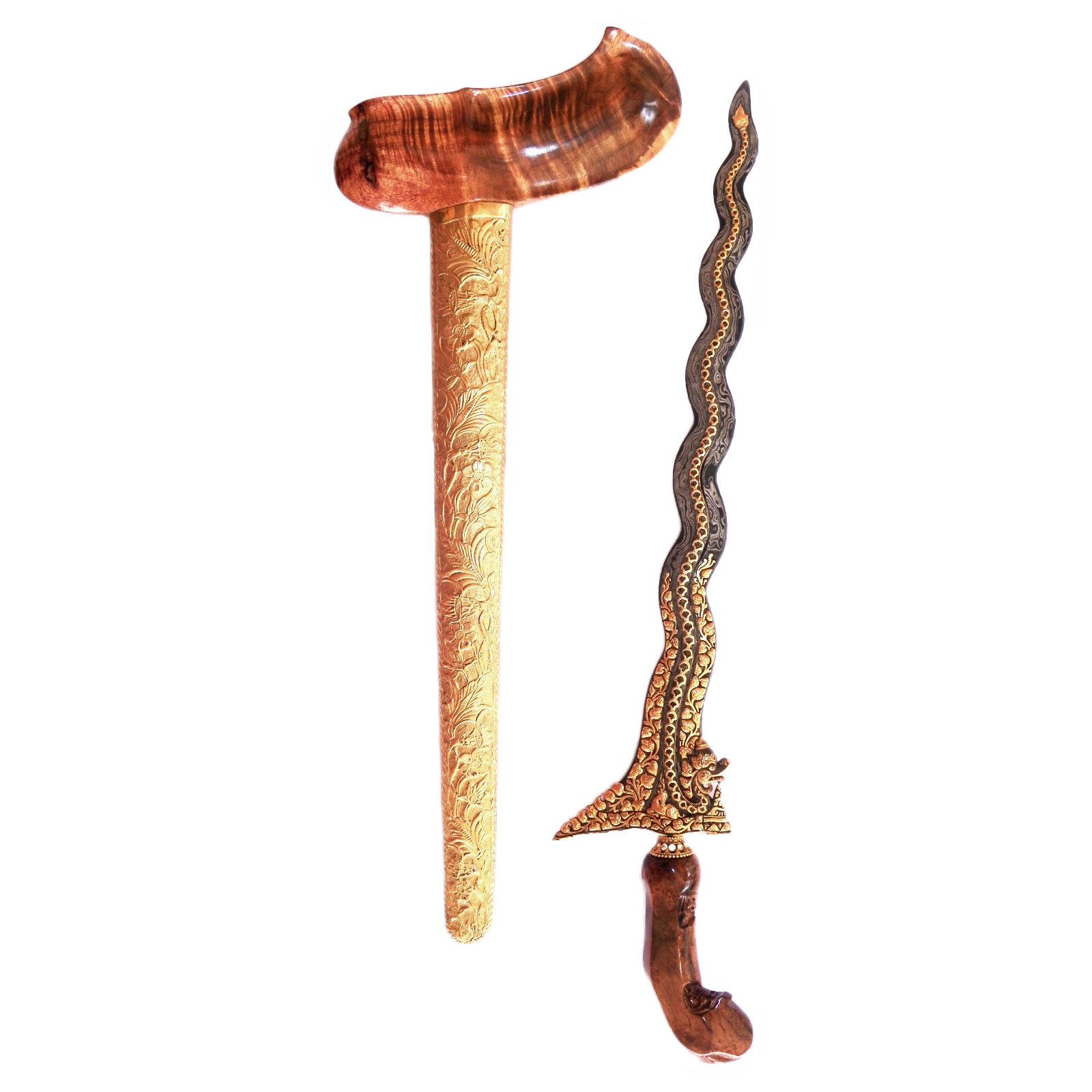 Keris Naga Sasra Luk 13 decorated with Gold-plated Silver Kinatah