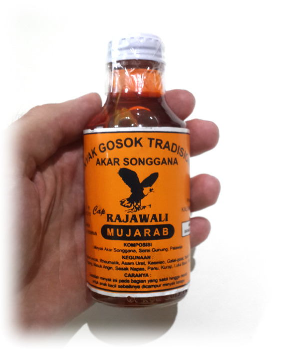 Close up of Bottle of Original Indonesian Herbal Liniment from Kalimantan