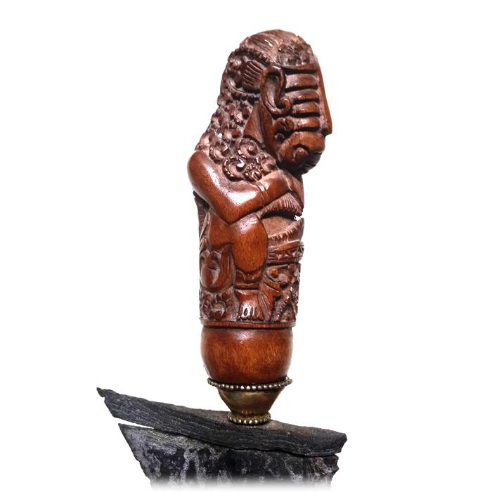 Keris Cirebon with Wooden Hilt featuring a Bhuta Image