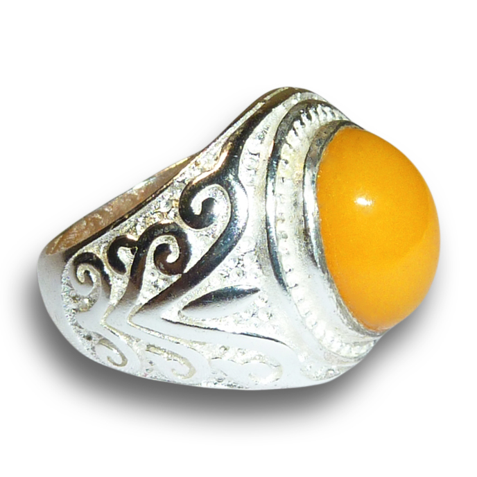 Peruvian Orange Fire Opal Gem in Silver Ring