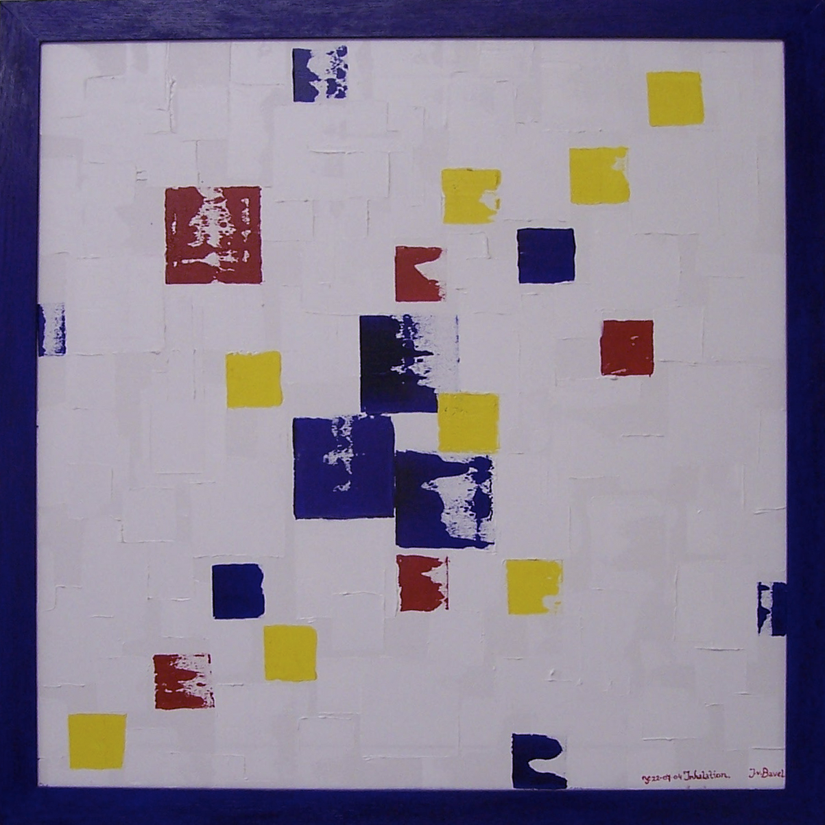 'Inhalation' oilpaint on canvas, oak list (dyed) All Unica