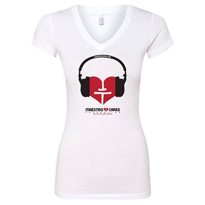 Maestro Cares's Music Heart Shirt (White) - Ladies 00000