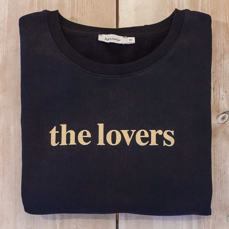 THE LOVERS Sweater - navy / Druck gold