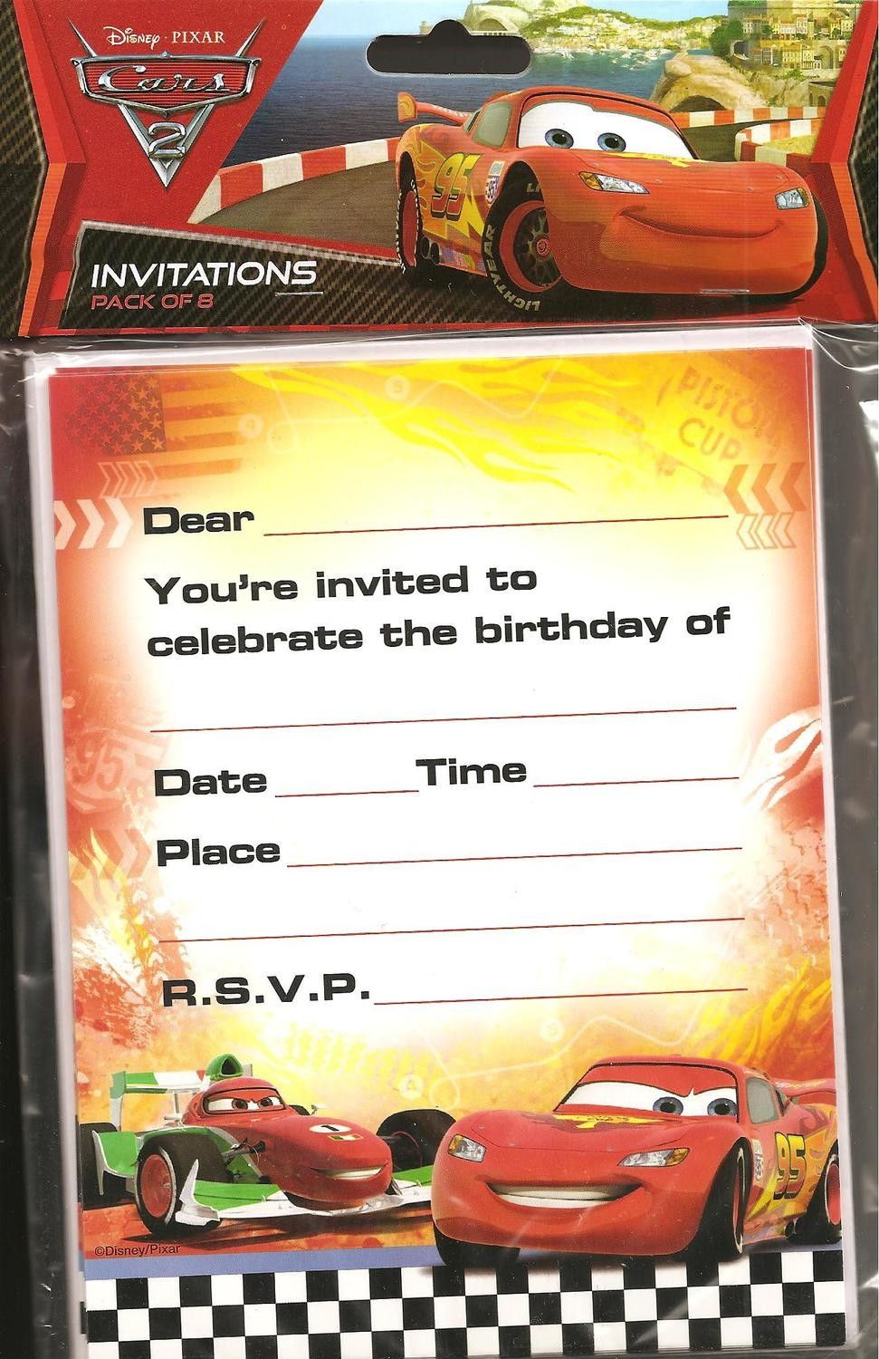 Disney Cars 2 Party Invitation Cards