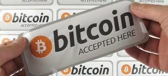 14.5x5.5cm bitcoin accepted here Self-adhesive durable silver PET label sticker ( 2 stickers per order) 00002