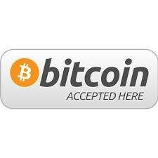 14.5x5.5cm bitcoin accepted here Self-adhesive durable silver PET label sticker ( 2 stickers per order)