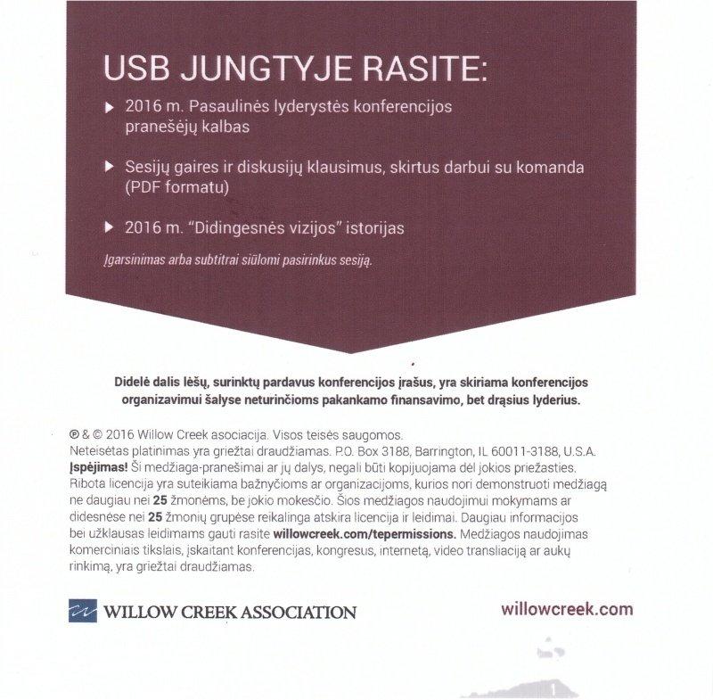 2016 M. PASAULINĖS LYDERYSTĖS KONFERENCIJOS VAIZDO ĮRAŠŲ USB JUNGTIS