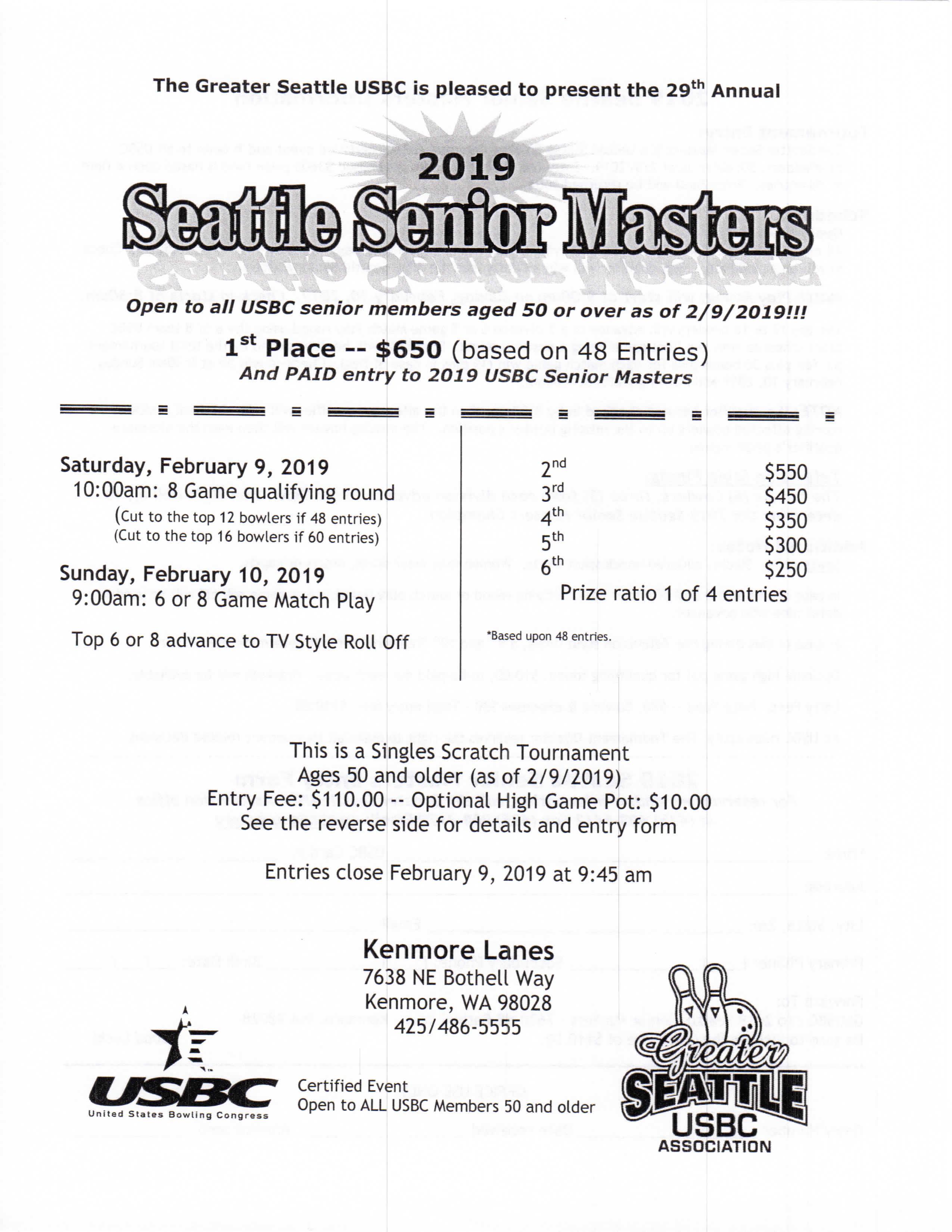 Seattle Senior Masters 50+ Tournament SM50-2019
