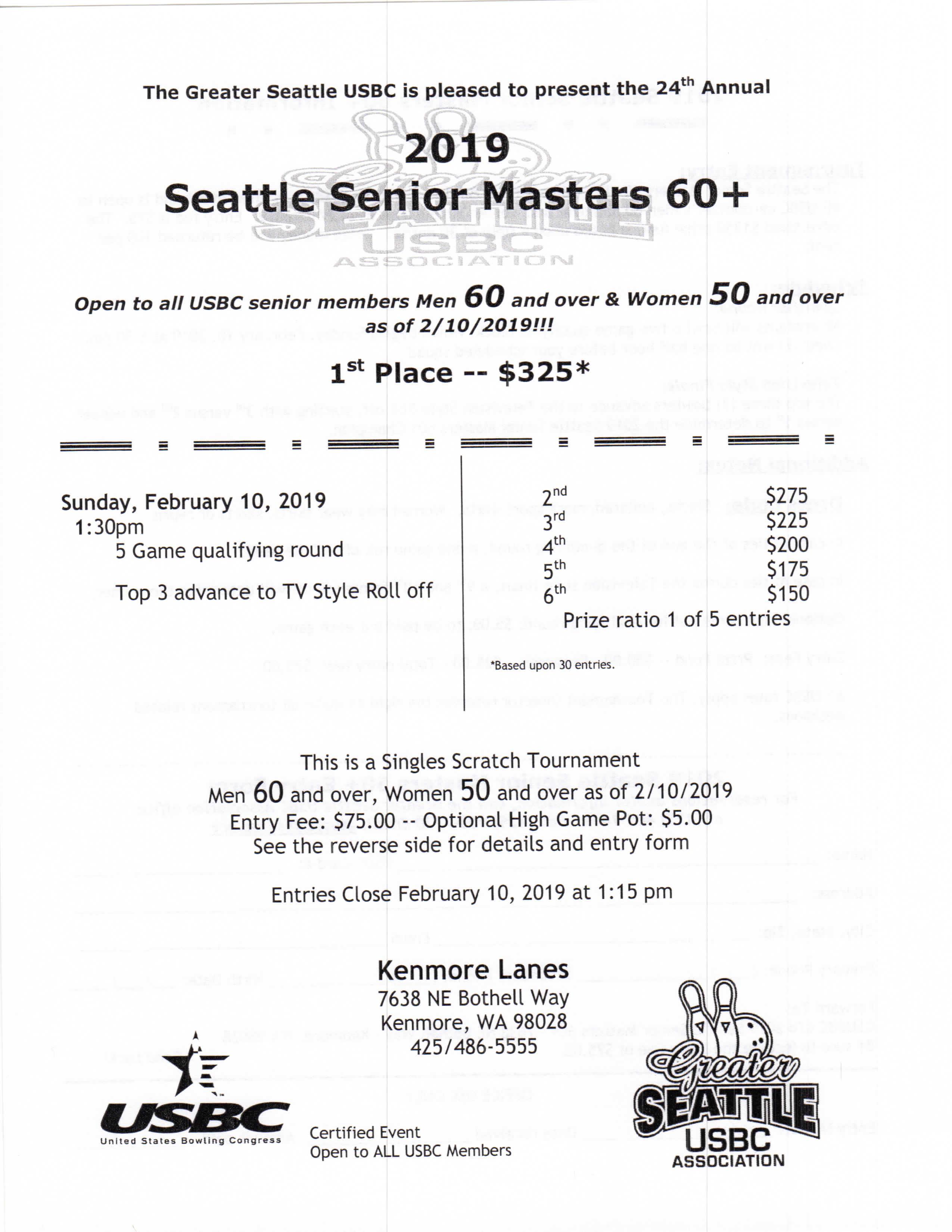Seattle Senior Masters 60+ Tournament SM60-2019