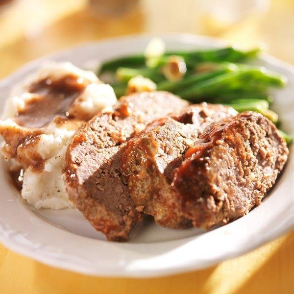 Italian Seasoned Meatloaf with Garlic Mashed Potatoes & Steamed Green Beans (2 Servings) 006
