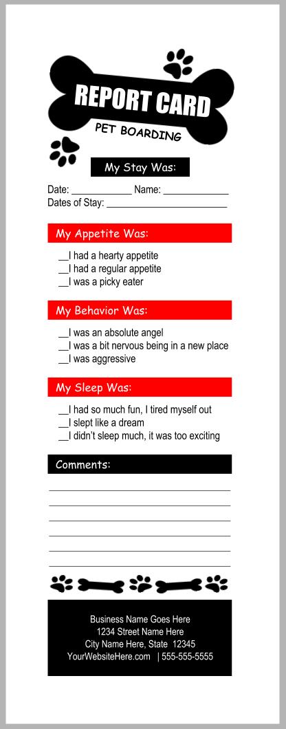 pet boarding report card templates bundle 6b