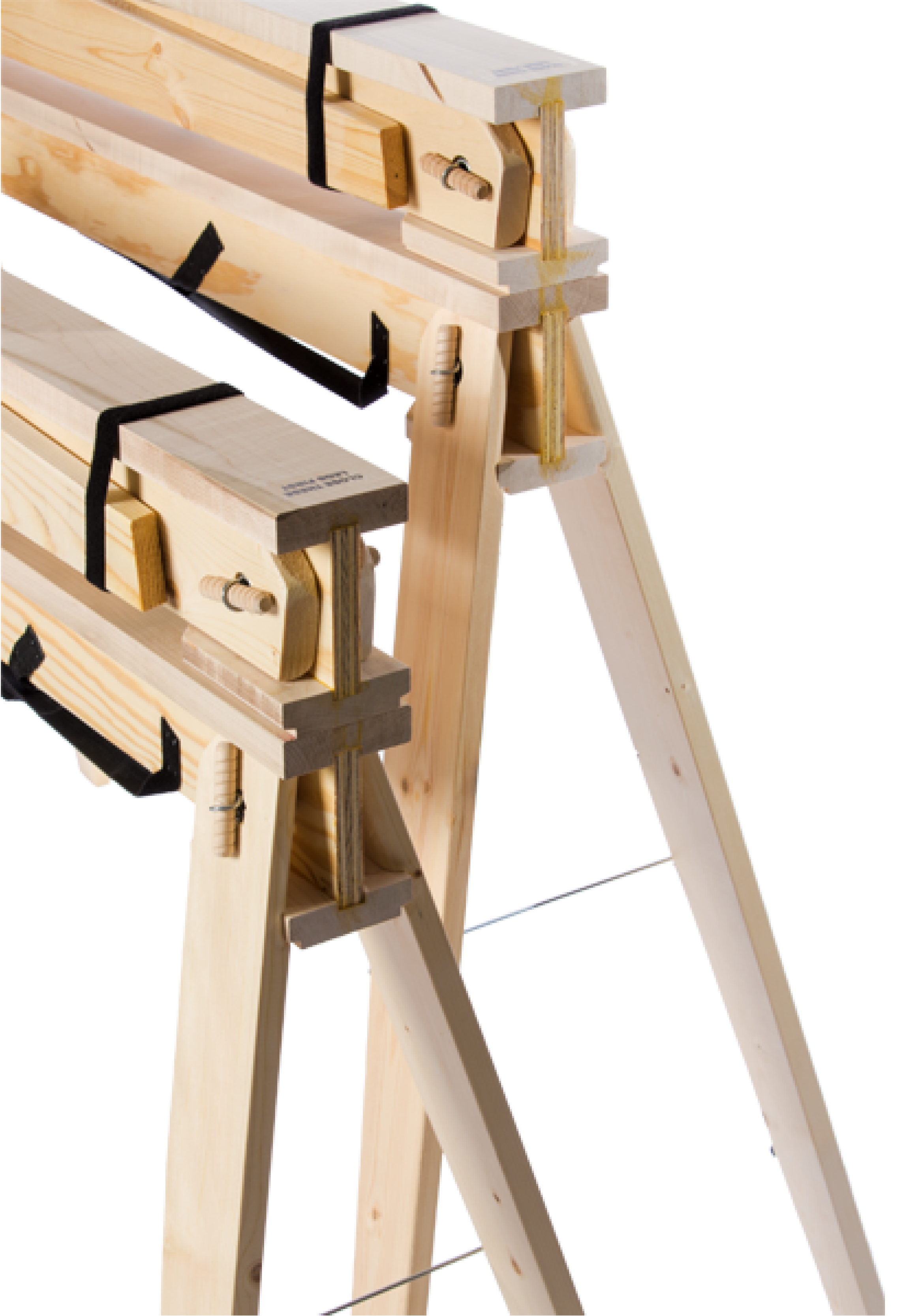 Hide-A-Horse Folding Sawhorses Deployed and Folded Stacked on Top