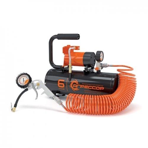 """Автомобильный компрессор агрессор с ресивером 6 л agr 6lt, купить в интернет-магазине """"Пикапгараж"""" 00705"""