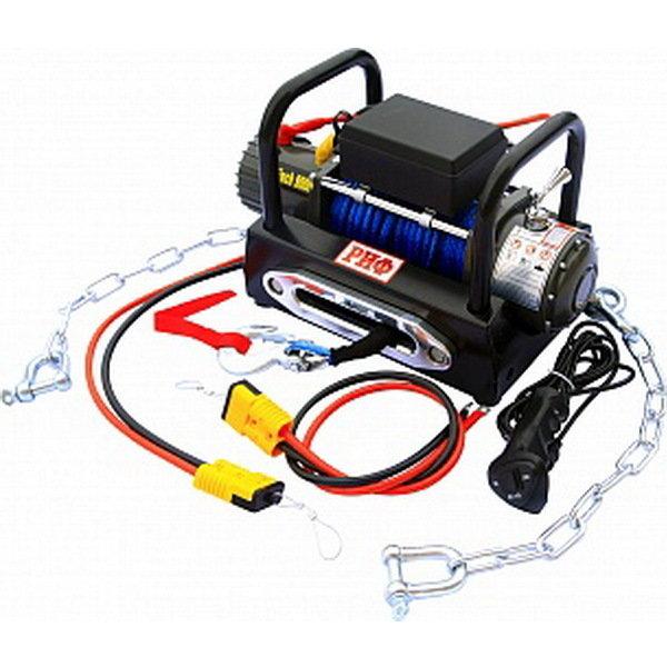 Лебёдка переносная РИФ 9000S c площадкой на цепях и проводами (в сборе) синтетический трос 01993