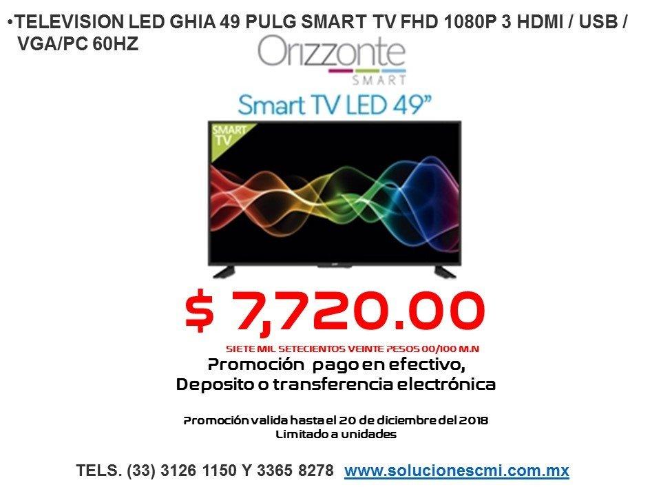 TELEVISION LED GHIA 49 PULG SMART TV