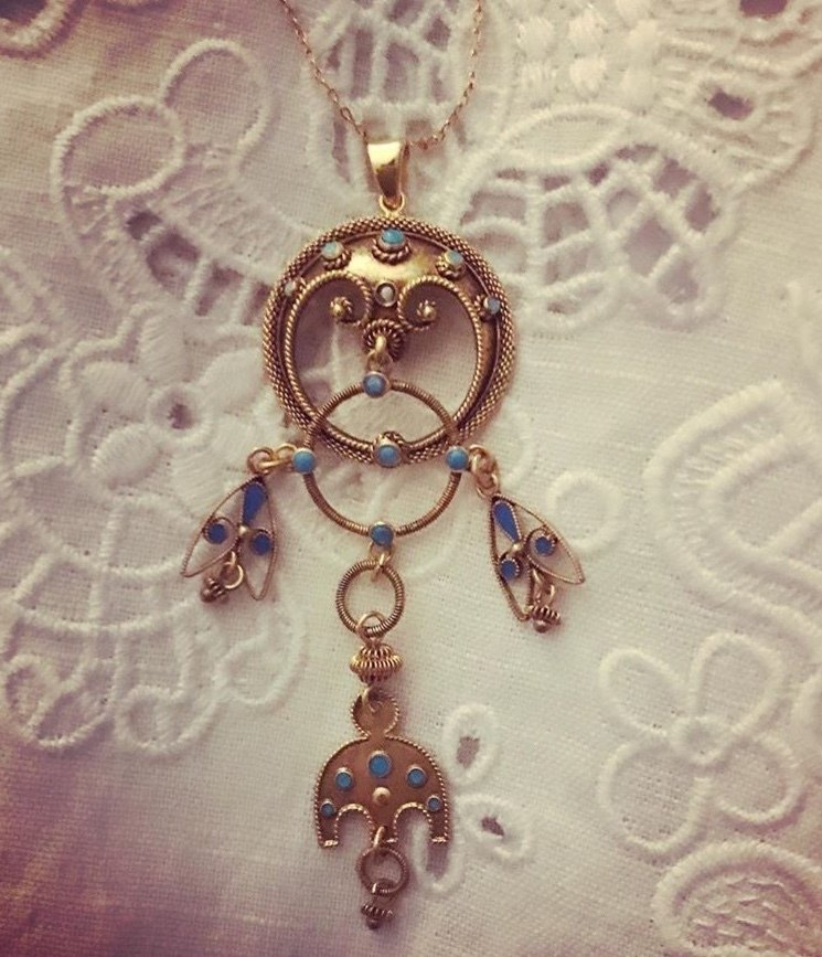Circa 1920 Gold plated turquoise drop pendant  00002