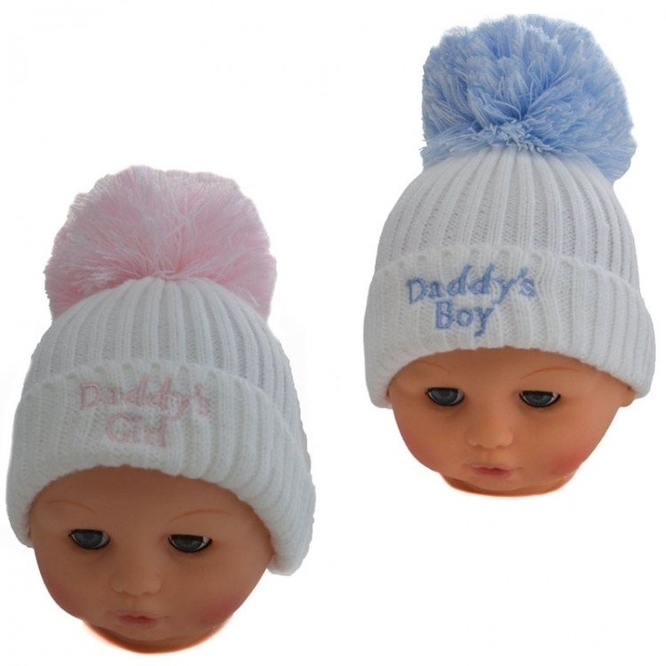 Baby Boys White Blue Daddy S Boy One Size Pom Pom Hat 0 6