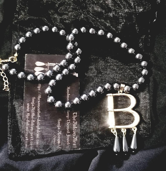 """Free Bonus Necklace With Purchase* Hematite Bead Gold Plated """"B"""" Anne Boleyn Pearl Choker Necklace 00002"""