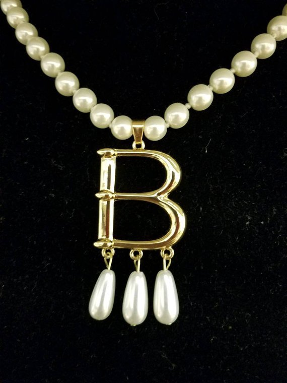 "Free Bonus Necklace With Purchase* Anne Boleyn Gold Plated ""B"" Pearl Choker Necklace 00005"