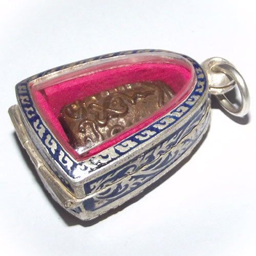 Pra Pid Ta Luang Por Niyom Wat Takian Tiaonly 200 amulets May. This particular addition is extremely rare. The amulet is encased in solid silver casing with painting glazed enamel ornaments on the surface in different colours