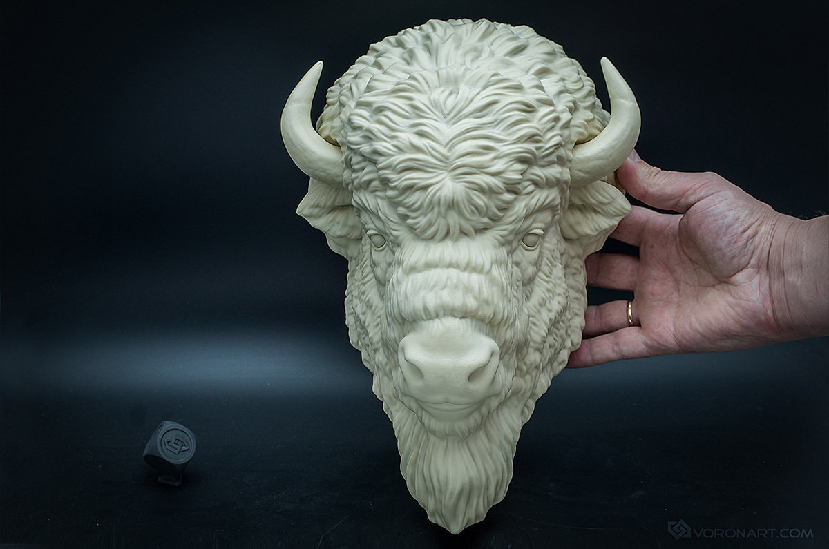 American Bison wall-mounted sculpture, faux taxidermy 00001