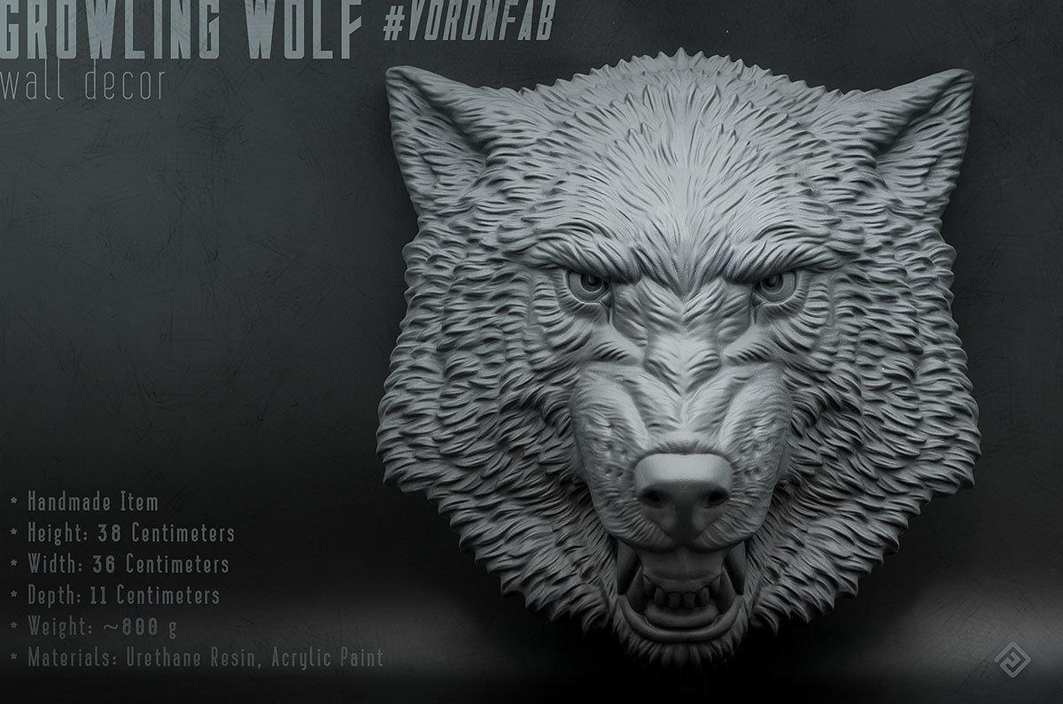 Growling Wolf Face relief sculpture wall decor 00007