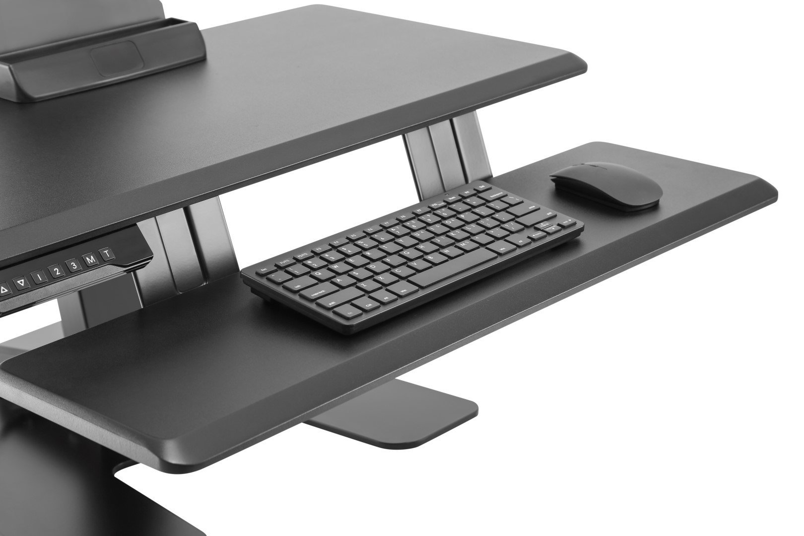 E-Lift D keyboard tray with keyboard and mouse