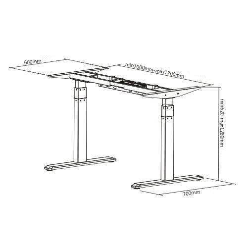 E-Desk graphite frame dimensions