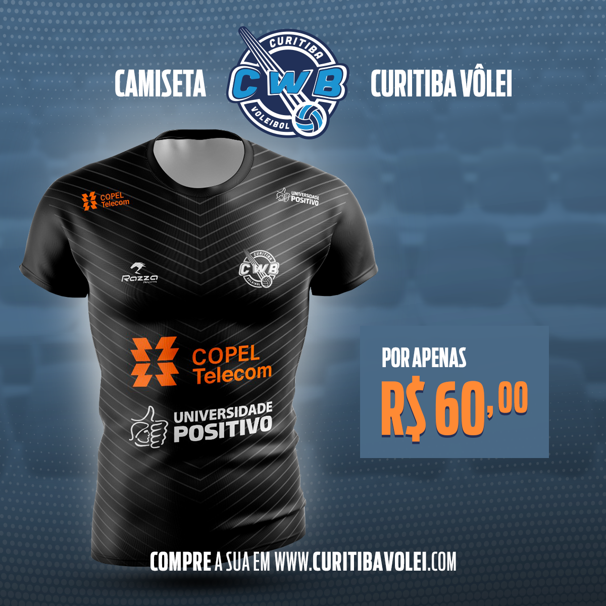 PROMOÇÃO - Camiseta Oficial Curitiba Vôlei + 1 Ingresso. cd4468f6af7