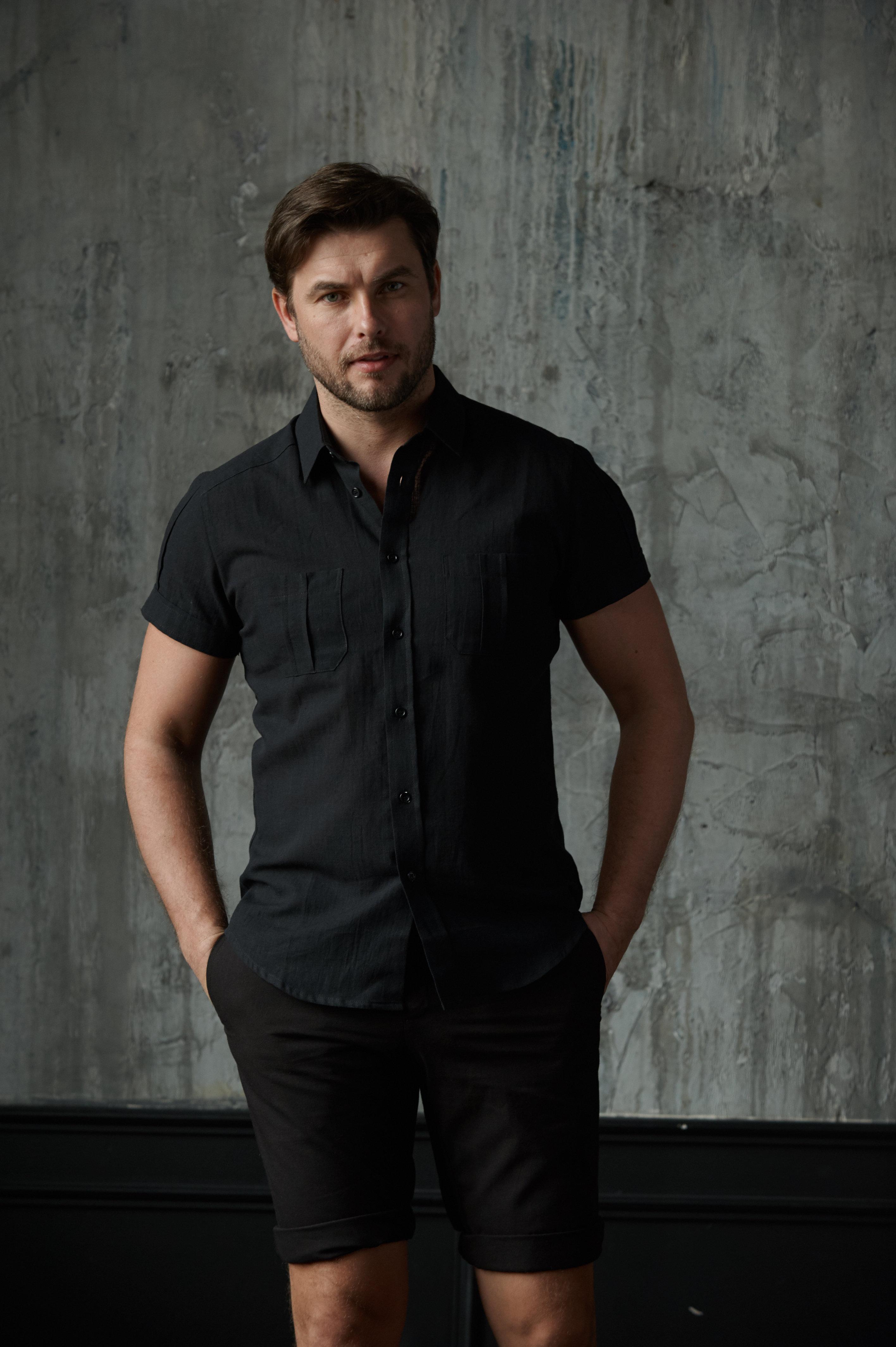 Тениска черная лён 18107 0501 000