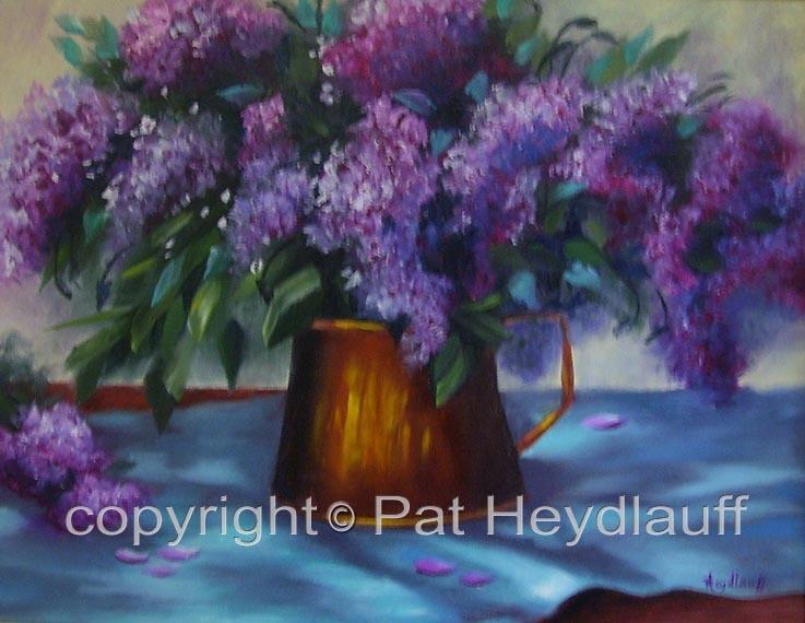 Copper Pot with Lilacs CNV137 / 20x16