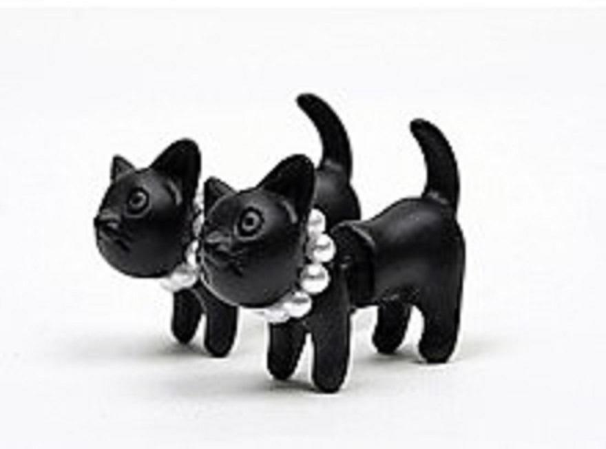 3D Black Cat Earrings 00005