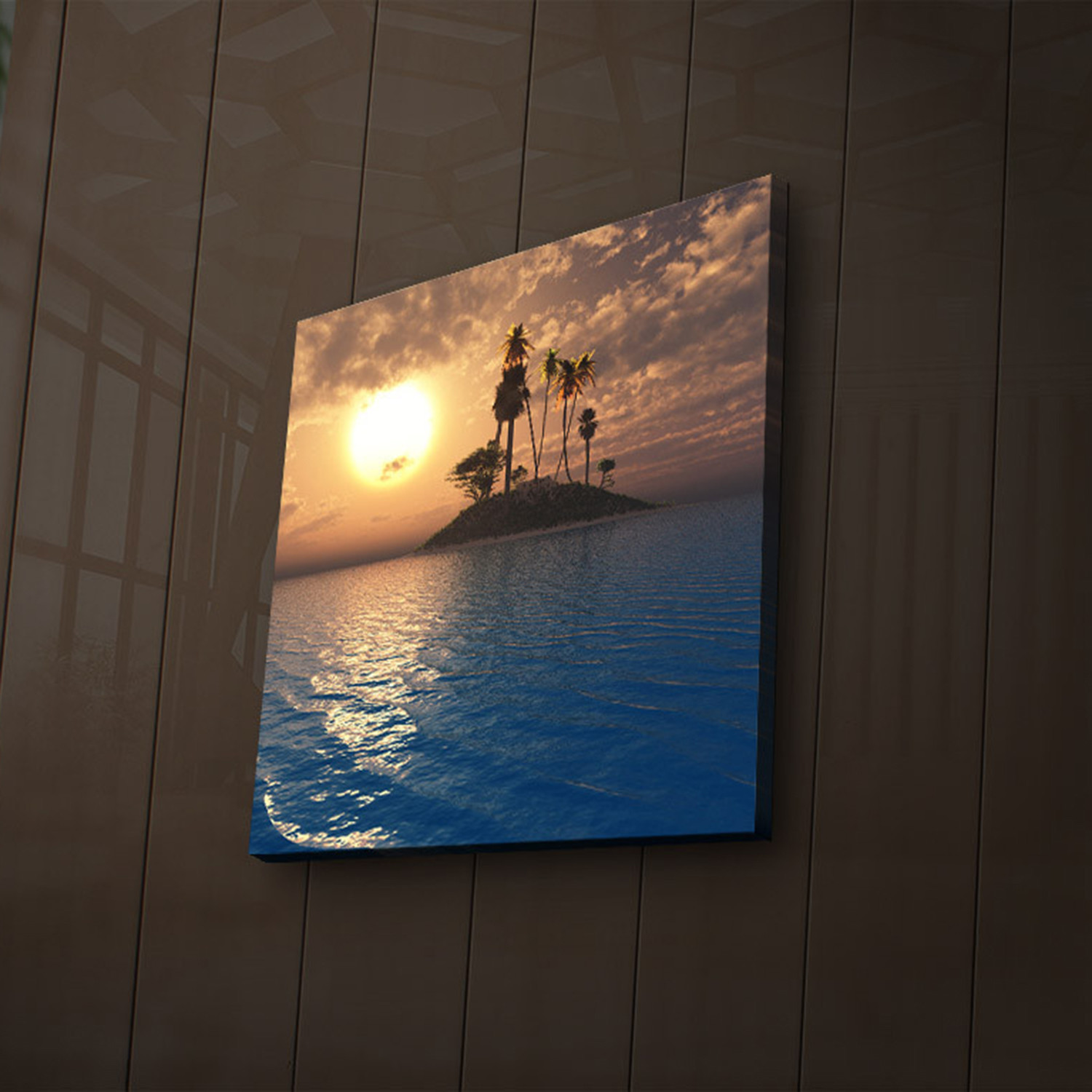 Blue Water Sunset Canvas with LED Back Lighting MX-MOTO12
