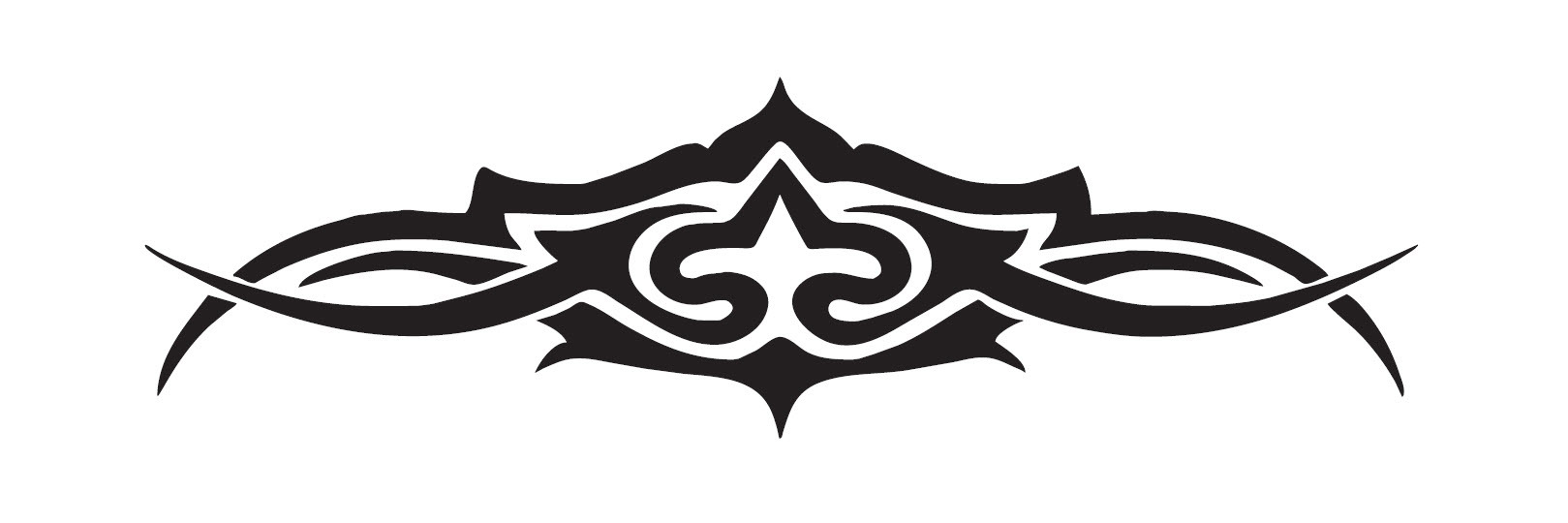 100mm Hi Gloss Black Sticker. Classic Tattoo Design. Suitable for Bikes, Helmets etc. 2323B