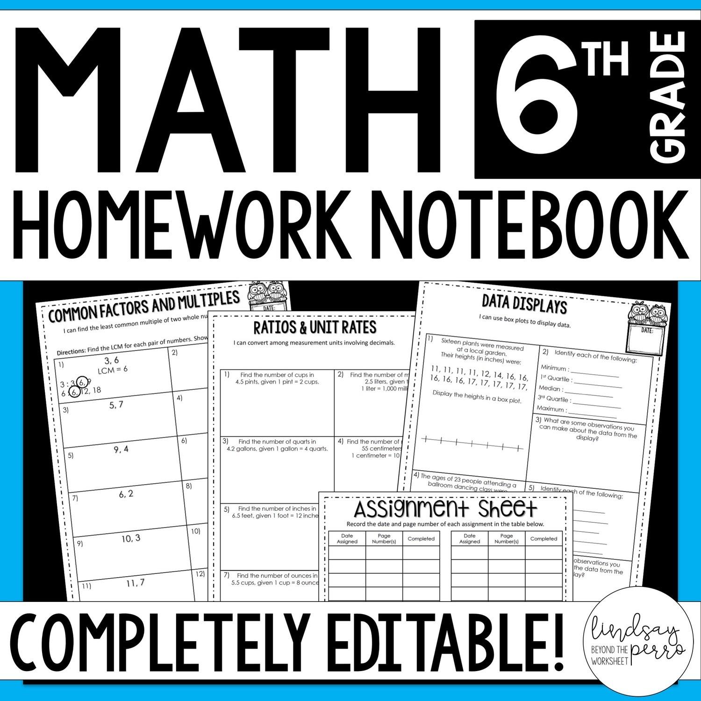6th Grade Math Homework - A Year of Editable Homework