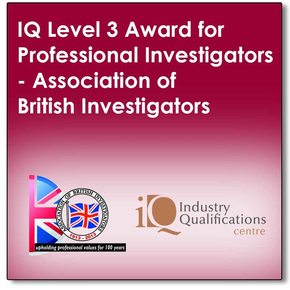 A Distance Learn programme leading to a final exam to achieve an industry recognised qualification in Professional Private Investigations (The IQ Level 3 Award for Professional Investigators) 00002