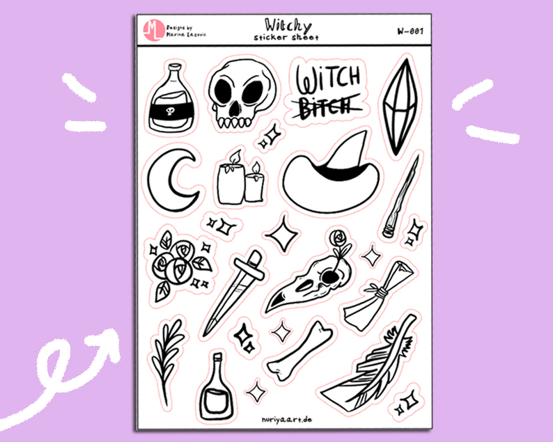 Witchy Stickersheet - Magical Witchcraft Planner Stickers W-001