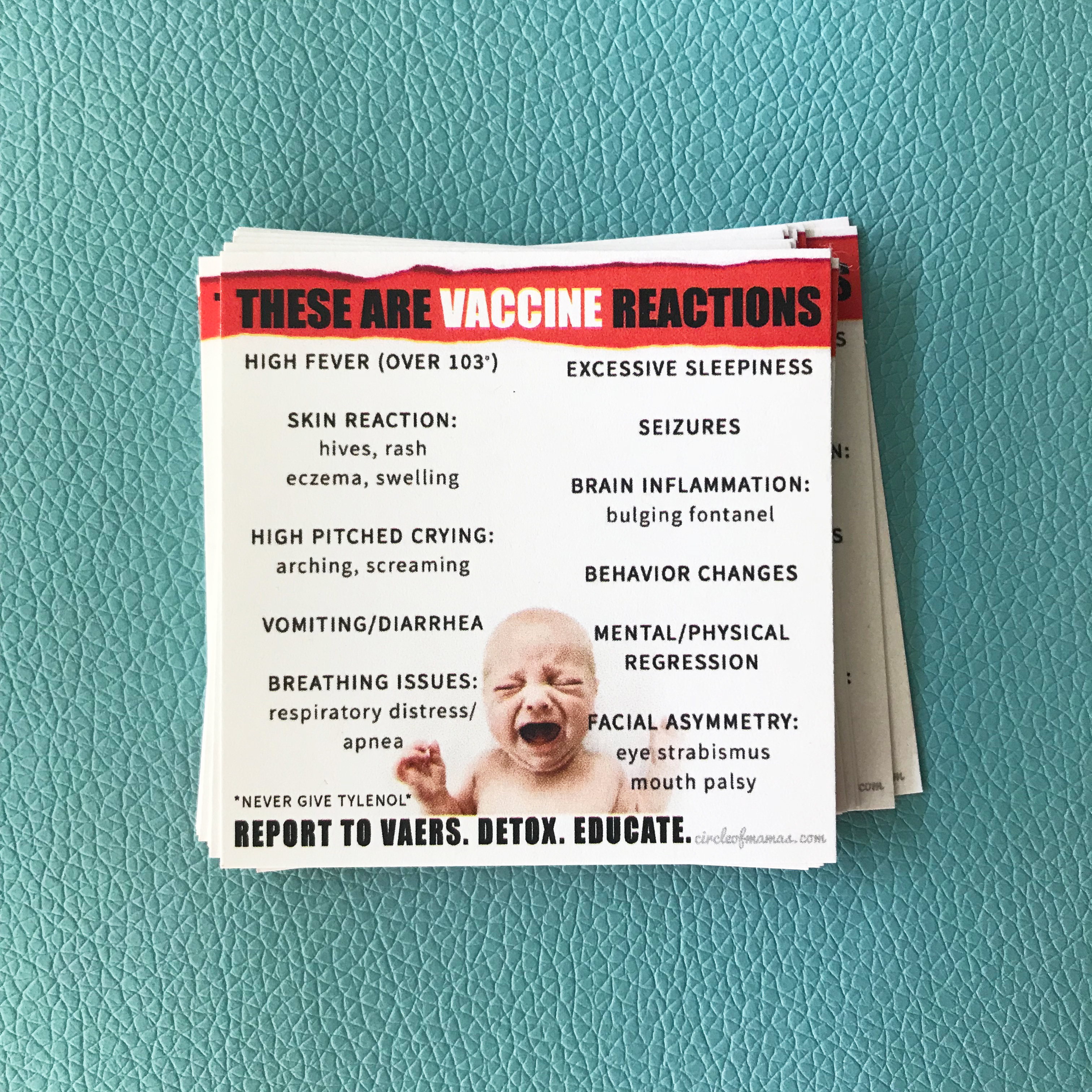 Vaccine Reaction Info Cards - 100 qty 00001