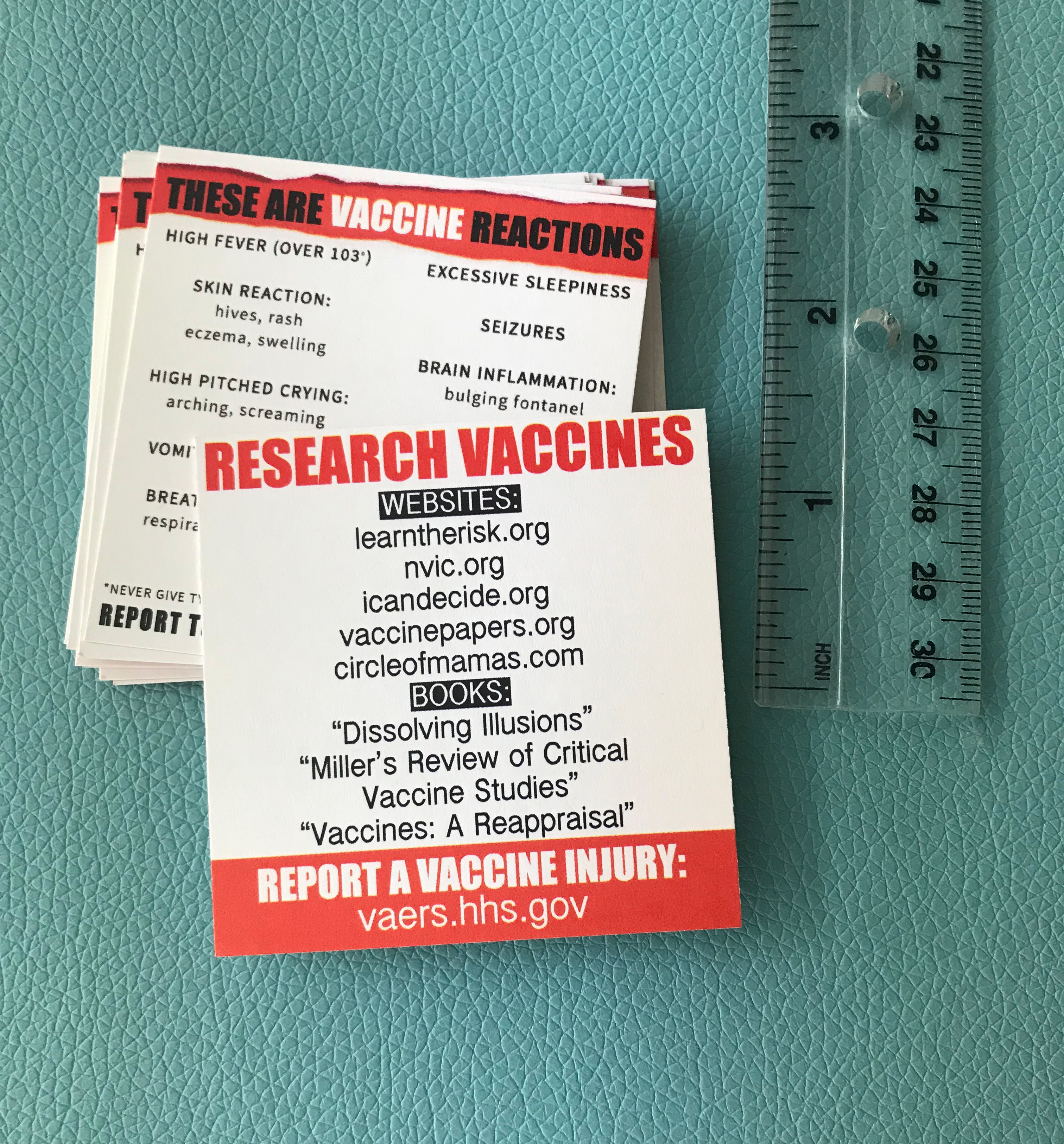 Vaccine Reaction Info Cards - 100 qty
