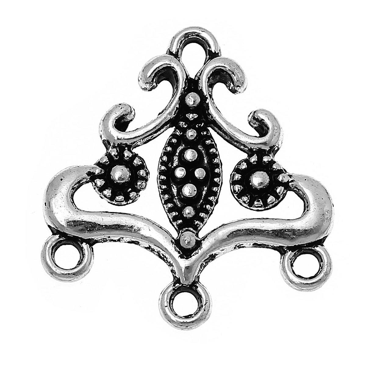 20 Tibetan Style Antique Silver 22x13mm Connectors Findings