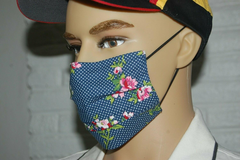 Fashionable 3 layer Face Mask/Blue Turquoise Flora Mask